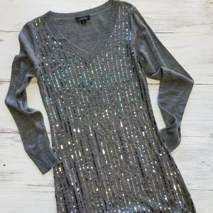 Tahari Arthur S. Levine Gray Silver Sequin Dress
